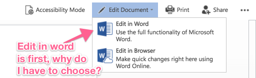 Their online interface shows edit in Word as your first option with edit in 'browser' as the second option.